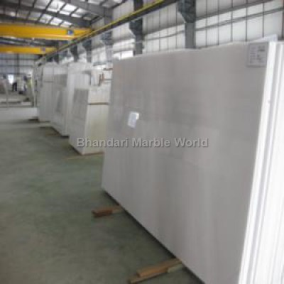 Makrana pure white marble stock yard